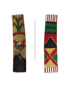 "Hopi Wooden Dance Stick c. 1990-2000s, 8.25"" x 2"" x 0.375"" (M1785)"