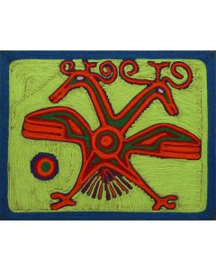Huichol Yarn Painting with Double-Headed Eagle Pictorial c. 1957 (M1792)