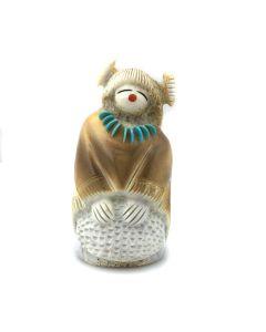 "Claudia Peina – Zuni Contemporary Antler, Turquoise, and Coral Hopi Maiden Grinding Corn Kachina Fetish, 2.875"" x 1.5"" x 1.375"" (M1800-034)"