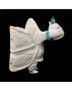 """Zuni Antler and Turquoise Corn Maiden Kachina, Contemporary, 3.5"""" x 3.5"""" x 1.25"""" (M1800-054)"""