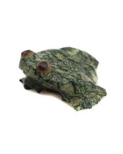 "Ruby Laahte – Zuni Contemporary Serpentine Frog Fetish, 0.75"" x 1"" x 1.25"" (M1800-062)"