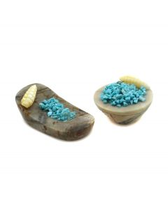 Pair of Zuni Miniature Contemporary Carved Corn Bowls with Picasso Jasper, Turquoise, and Mother of Pearl (M1800-072)