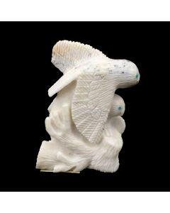 """Destry Siutza - Zuni White Stone and Turquoise Fetish with 2 Birds, Contemporary, 2.5"""" x 1.5"""" x 0.5"""" (M1834-11)"""