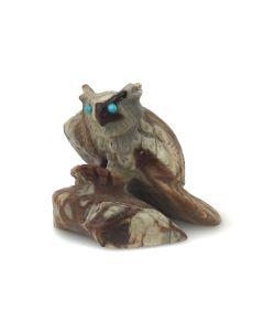 "Dana Malani - Zuni Jasper and Turquoise Owl Fetish, Contemporary, 1.5"" x 1.5"" x 1.125"" (M1834-8)"