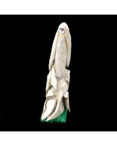 "Zuni Antler Bone Corn Maiden Kachina Fetish on Malachite Base, dated 1996, 4.75"" x 1.5"" x 2"" (M1834-9)"