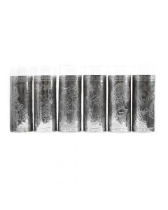 "Set of 6 Mexican Glasses with Silver Repousse c. 1940s, 7"" x 2.5"""