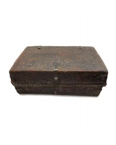 """Leather and Wooden Chest, 8"""" x 20"""" x 12"""" (M90201C-0321-002)"""