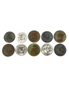 Joe Beeler (1931-2006) - Set of 10 Contemporary Bronze and Pewter Medallions with Native American Faces