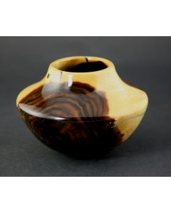 SOLD Greg Campbell - Texas Ebony and Turquoise Wood Vessel