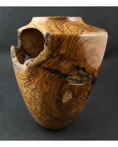 SOLD Greg Campbell - Olive and Turquoise Wooden Vessel