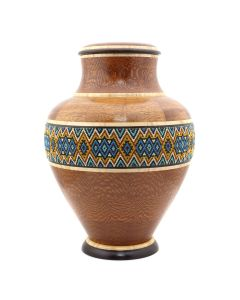 Marilyn Endres and Eucled Moore - Beaded Tall Neck Lidded Segmented Wood Turned Vessel (M90572-1220-001)