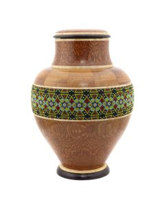 Marilyn Endres and Eucled Moore - Beaded Tall Neck Lidded Segmented Wood Turned Vessel (M90572-1220-002)