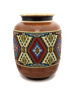 Marilyn Endres and Eucled Moore - Tall Beaded and Segmented Wood Turned Vessel (M90572-1220-004)