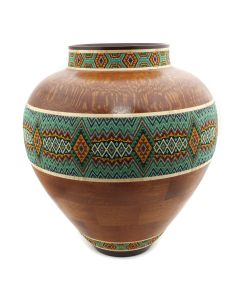 Marilyn Endres and Eucled Moore - Segmented Wood Turned Vessel with Central Beaded Band (M90572-1220-005)