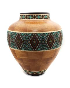Marilyn Endres and Eucled Moore - Segmented Wood Turned Vessel with Central Beaded Band (M90572-1220-007)