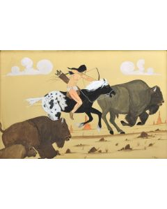 E. Begay - Untitled Buffalo Hunter (M90772A-0221-001)