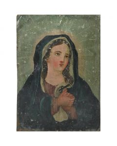 Virgin Mary Tin Retablo