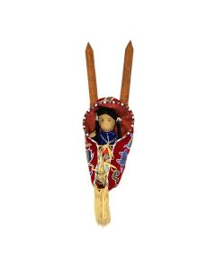 """Plains Cradleboard with Navajo Doll and Saddle Blanket, 42.25"""" x 13.75"""" x 9.5"""" (M91646A-0421-006)"""