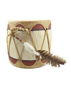 "Pueblo Ceremonial Drum c. 1940s, 9"" x 9"""