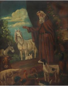 New Mexican Retablo of St. Francis and Animals (M92022A-0321-002)