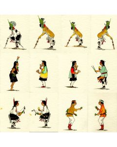 OLD J. D. Roybal (1922-1978) - Set of Twelve Original Cards featuring Various Pueblo Dancers