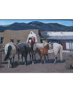 SOLD Laverne Nelson Black (1887-1938) - Taos Indian Night Watch