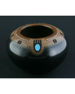 SOLD Tony Da (1940-2008) - San Ildefonso Gunmetal Black and Sienna Pot with Heishi Inlay, Turquoise Cabochons and Sgrafitto Deer