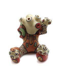 "Lot 299 - Margaret Gutierrez (1936-2018) - Santa Clara Polychrome Mudhead Kachina Figurine with Children c. 1990s, 3.25"" x 3.25"" x 3.75"" (P2757)"