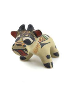 """Stephanie Naranjo - Santa Clara Polychrome Cow Figurine c. 1980s, 2"""" x 1.5"""" x 3"""""""