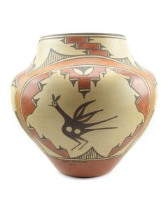 "Sofia Medina - Zia Polychrome Jar with Bird Design c. 1960s, 13"" x 14"""