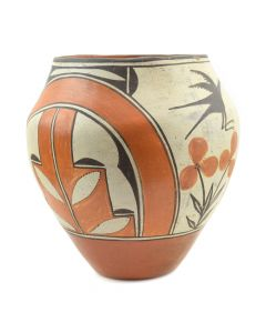 "Zia Polychrome Jar with Bird Design c. 1940s, 7.5"" x 7"""