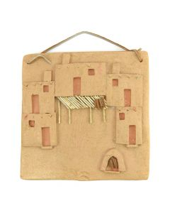 "Taos Contemporary Pueblo Home Plaque, 8"" x 8"""
