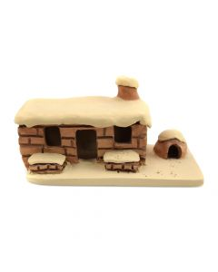 "Phillip M. Fragua - Jemez Adobe Home Figurine c. 1970-80s, 3"" x 6"" x 2.5"""