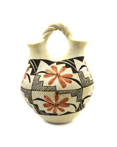 "Acoma Polychrome Wedding Vase with Flower Design c. 1930-40s, 8.5"" x 5"""