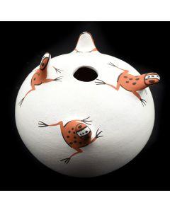 "Agnes Peynesta - Zuni Miniature Seed Jar with Frog Design c. 1995, 2.75"" x 3"""