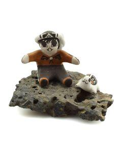 "Christine Aggie Henderson - Acoma Storyteller Figurine Sitting on Rock c. 1980-90s, 2.25"" x 3"" x 3"""