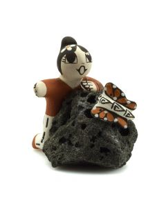 "Christine Aggie Henderson - Acoma Storyteller Figurine Sitting on Rock c. 1980-90s, 2.5"" x 2"" x 2.5"""