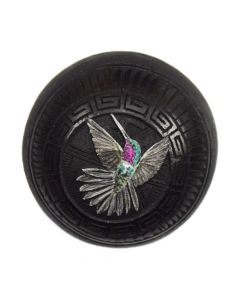 "Wallace Nez - Contemporary Navajo Black on Black Seed Jar with Hummingbird Design, 1.75"" x 2"""