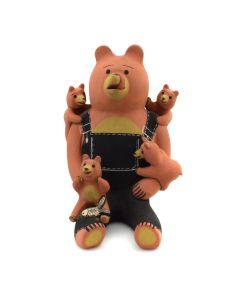 """Dorothy Herrera - Cochiti Storyteller Bear Figurine c. 1980s, 7"""" x 5.5"""" x 6"""""""