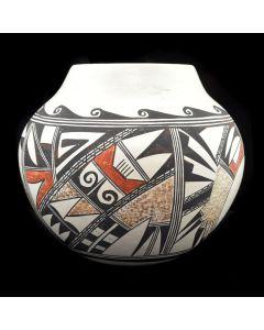 """Stella Huma - Hopi Polychrome Jar c. 1970s, 6.25"""" x 7"""""""
