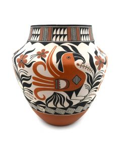 """Goldie G. Hayah - Acoma Polychrome Olla with Bird Designs c. 1980-90s, 12"""" x 11"""""""