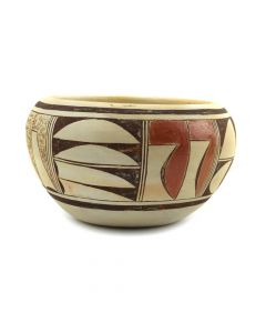 "Kathleen Poleahla - Hopi Polychrome Bowl with Abstract Designs c. 1980s, 3"" x 5"""