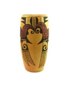 "Hopi Polychrome Vase with Bird Designs c. 1940s, 8.75"" x 4.25"""