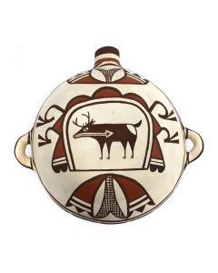 "Jack Kalestewa - Zuni Polychrome Canteen with Heartline Deer c. 1990s, 8"" x 8.5"" x 5"" (P3057)"