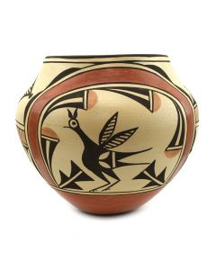 "Attributed to Sofia Medina (1932-2010) - Zia Polychrome Olla with Bird Designs c. 2000s, 8"" x 9"" (P3061)"