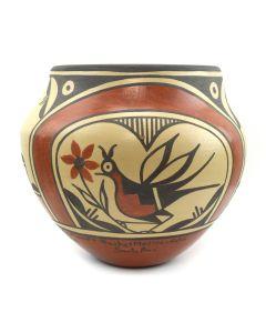 "Sofia Medina, Zia (1932-2010) and Rachel Medina Raton, Santa Ana (b. 1961) - Polychrome Olla with Bird Designs c. 2000s, 7.5"" x 8"" (P3062)"