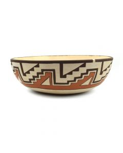 "Max Early (b. 1963) - Laguna Polychrome Bowl with Geometric Designs c. 1995, 3"" x 9"" (P3068)"