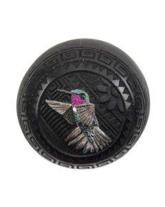 "Wallace Nez - Contemporary Navajo Seed Jar with Hummingbird Design, 2"" x 2"""