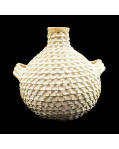 """Stella Shutiva (1939-1997) - Acoma Corrugated Vase with Handles c. 1970-80s, 6.5"""" x 5.5"""" (P3075)"""