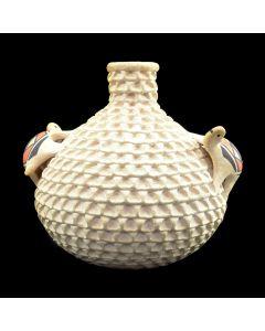 """Stella Shutiva (1939-1997) - Acoma Corrugated Vase with Polychrome Turtles c. 1970-80s, 6.5"""" x 5.5"""" (P3083)"""